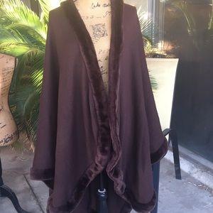 Beautiful Dennis Basso cape with faux fur